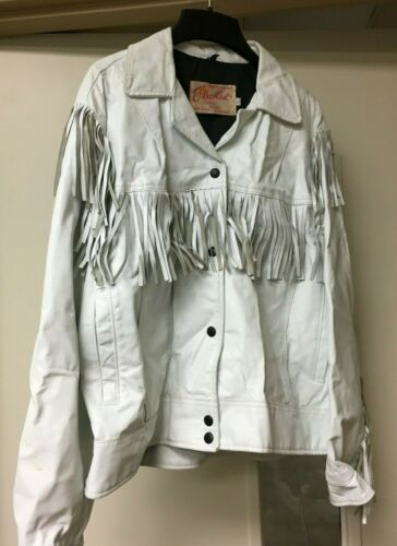 Vintage 1970s White Leather Fringe Snap Buttons Wo