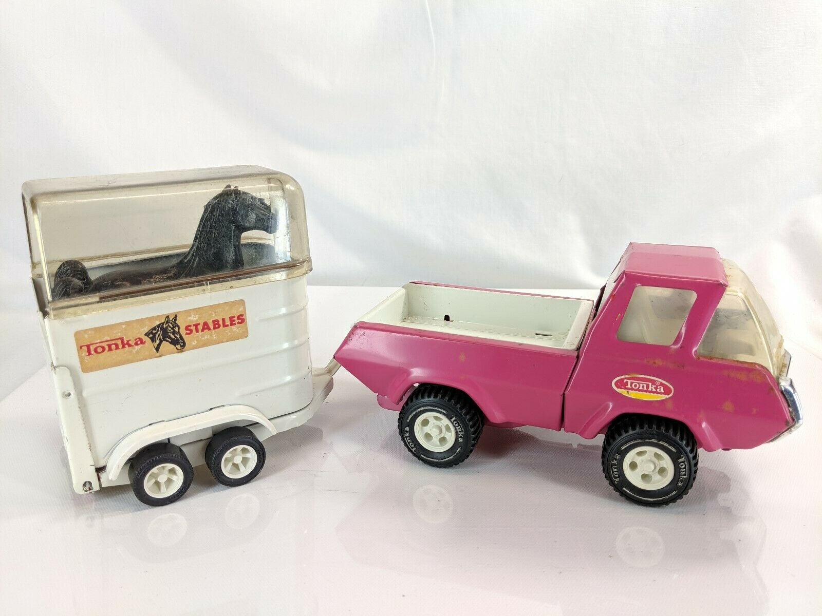 Vintage Tonka Stables Truck Pressed Steel with Horse Trailer and Horses Used
