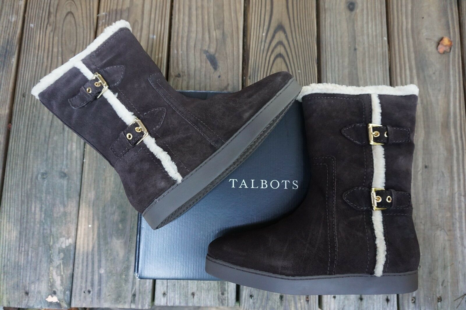 TALBOTS NIBOX  229  TIPPI  BROWN SILK SUEDE BUCKLE BOOTS SIZE 9 M MADE IN BRAZIL