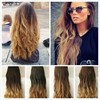 "22"" 20"" clip in hair extensions Brown Wavy Blonde Black Dip dye Ombre Long"