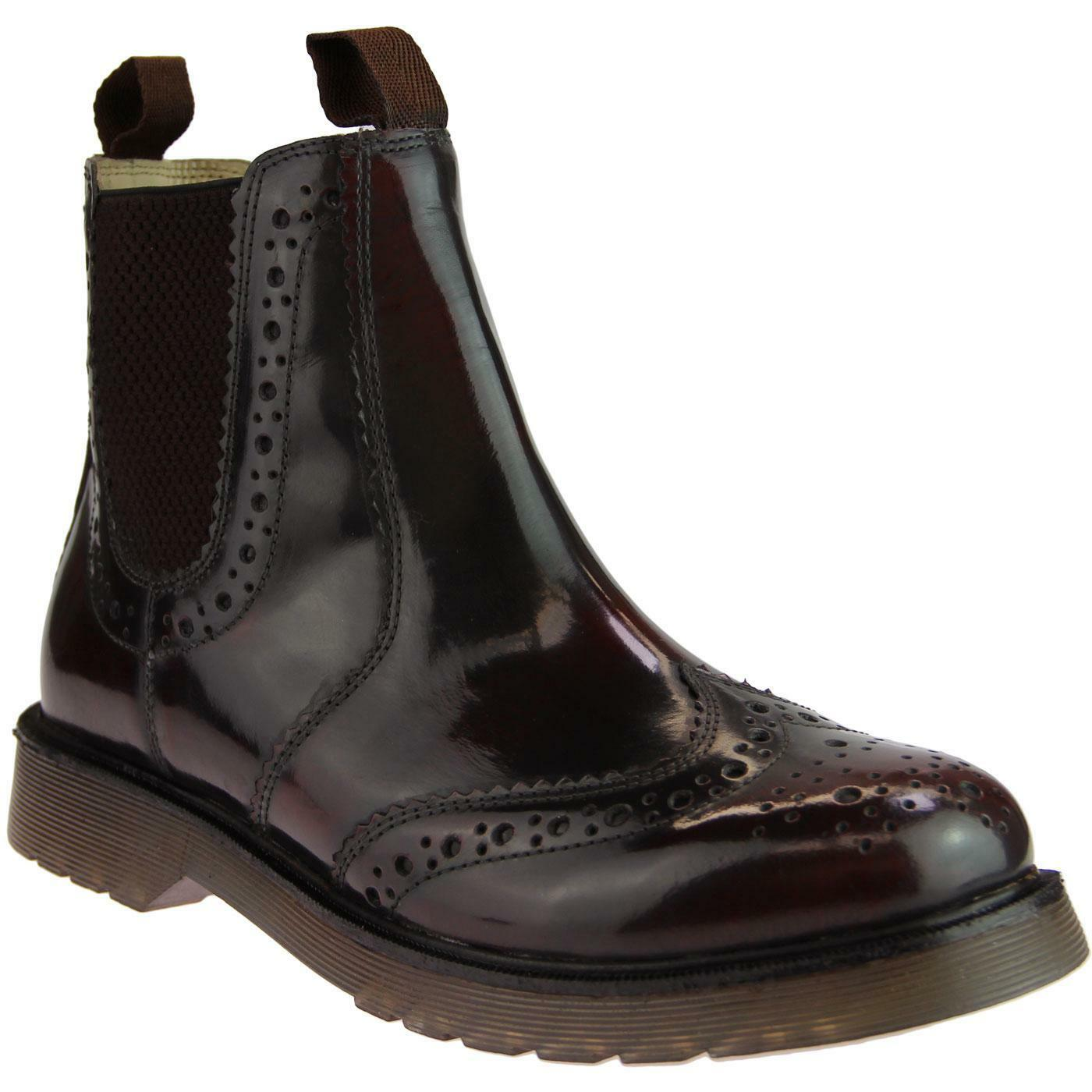NEW MOD RETRO 60s MENS BROGUE CHELSEA Stiefel High Shine LEATHER Oxblood M757BD   | Elegantes und robustes Menü