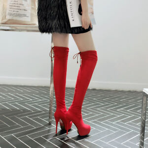 Women-039-s-Stiletto-High-Heel-Platform-Faux-Suede-Over-Knee-Boots-Shoes-UK-Size-1-8