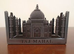 Taj-Mahal-India-Metal-Business-Card-Holder-Souvenir-Grey-2-5-034-x-3-5-034-VG