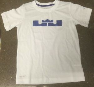 113a4ae638f New Nike Dri Fit Lebron James King Crown Logo T-Shirt White Read ...