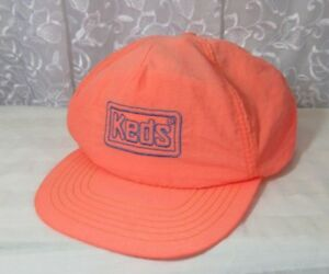 277521d703a05d Vintage 80s 90s Neon Pink Orange KEDS Shoes Snapback Hat Retro Nylon ...