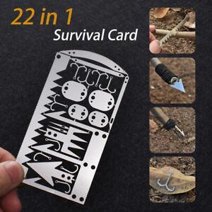 22 in 1 Wilderness Survival Card Fishhook Arrow Awl Needles Blades Multi-Tool Ta