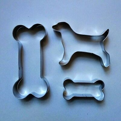 3Pcs//3 Size Dog Bone Biscuit Fondant Pastry Baking Stainless Steel Cookie Cutter