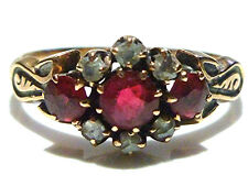 OLD VICTORIAN 10K YELLOW GOLD ROSE CUT DIAMOND & RUBY WOMENS RING BAND SIZE 8
