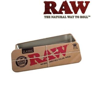 RAW-Roll-Caddy-Rolling-Paper-Cone-Metal-Tin-Container-King-Size
