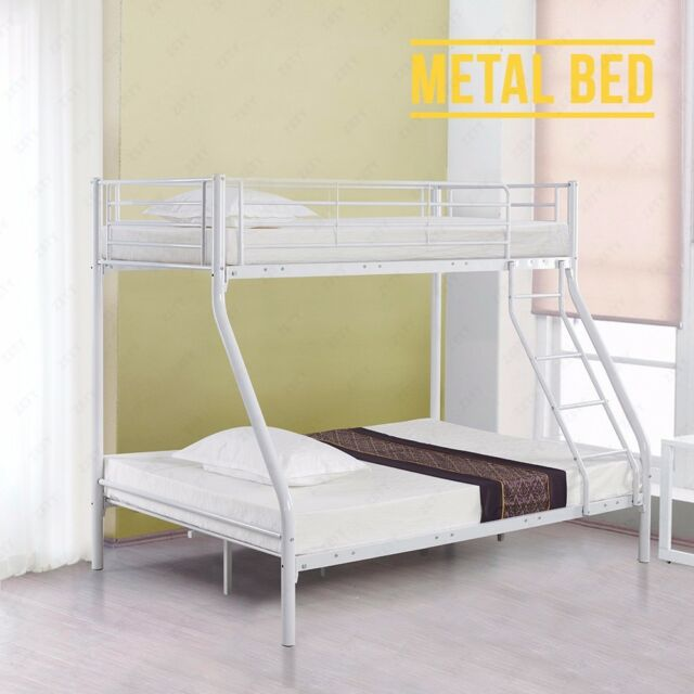 White Triple Bunk Beds Metal Frame 3ft Single 4ft6 Double Bedroom