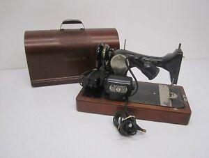 Vtg-1940s-Singer-Model-128-Sewing-Machine-St-Johns-amp-Bentwood-Case-JC048448