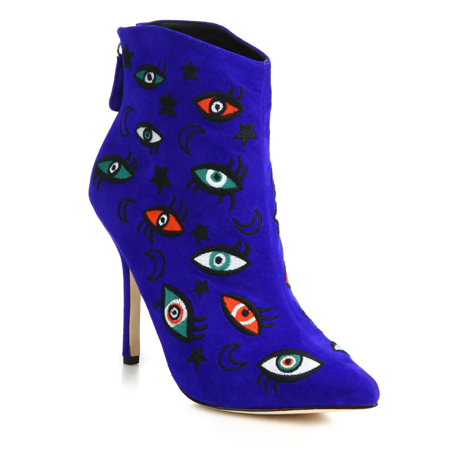 Isa Tapia Juliette Embroiderouge Eyes and Stars Suede Point-Toe démarrageies - bleu