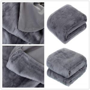 Grey 150cm*200cm Micro Faux Fur Fleece Blanket Soft Luxury Sofa Bed Throw Gift
