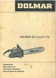 Makita Chainsaw Parts Diagram   Dolmar Chainsaw Type Ca Parts Manual Chain Saw Ebay