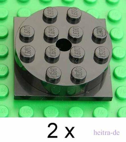 3403c01 NEUWARE 2 x Drehteller 4x4 schwarz Black Turntable e6 LEGO