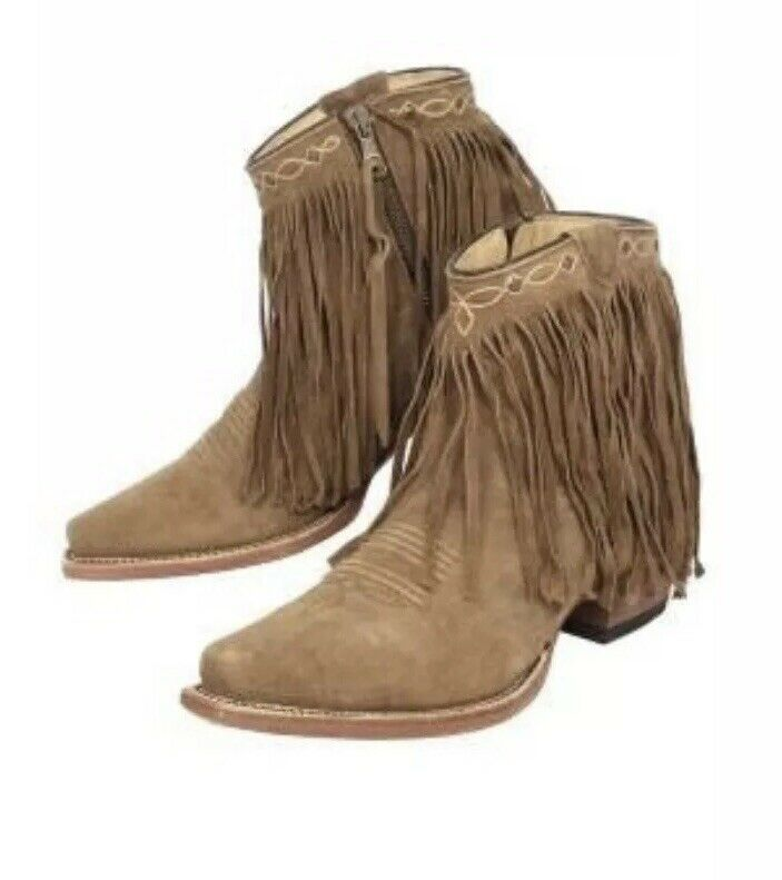 JB Dillon Leather Fringe Ankle Booties NEW  300 Cowboy Western Style Brown 8.5