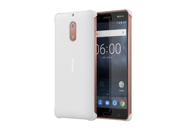 pick up 6812e d7f26 Official Nokia 6 White Carbon Fibre Design Case / Shell - Cc-802