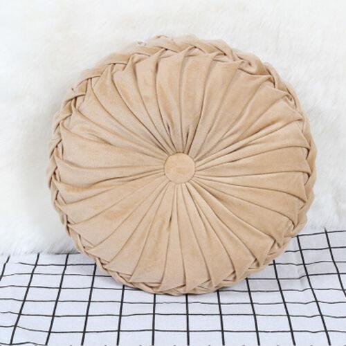 European Velvet Pleated Pumpkin Throw Pillow Round Couch Cushion For Sofa Decor