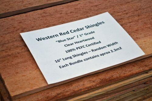 A Grade Western Red Cedar Shingles Clear Vertical Grain Blue Star Pack Set New
