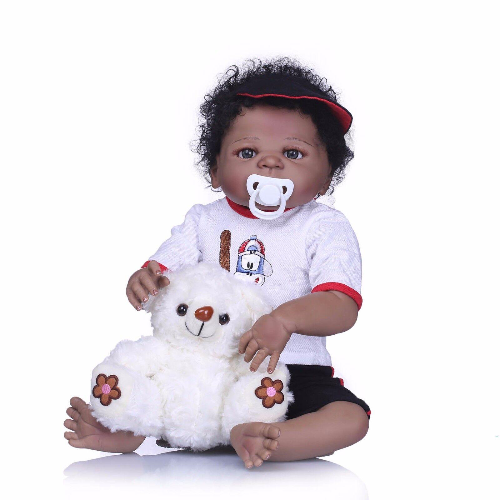 22  Muñeca Bebé Reborn étnico afroamericano Pelo Rizado Negro Recién nacidos Niño Completo Vinilo Nuevo