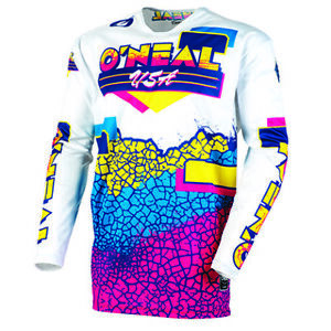 O'Neal 2021 Men's Mayhem Crackle 91 Jersey Yellow/White/Blue All Sizes