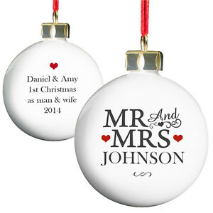 Image Is Loading Personalised Mr Amp Mrs Bauble Xmas Tree Decoration
