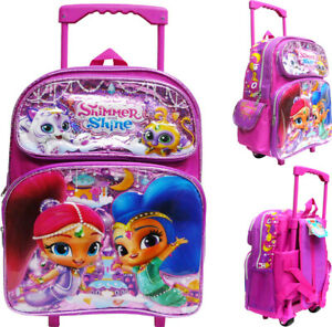 "Disney Shimmer and Shine Large School Backpack 16/"" Canvas Girl/'s Book Bag"