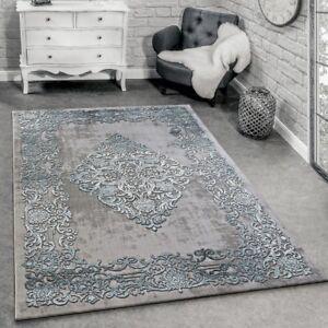 Designer Teppich Modern Wohnzimmer Teppiche 3D Barock Muster In Grau ...