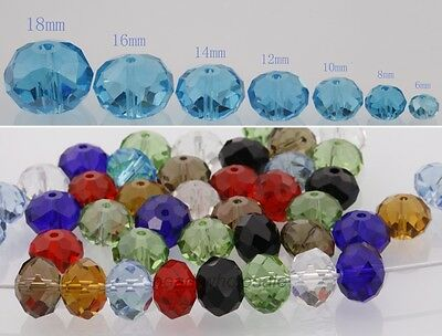Multicolor Faceted Loose Crystal Spacer Beads Rondelle 6/8/10//12/14/16/18mm