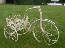 Cream Bicycle Planter Garden Ornament Shabby Accessory Bike Flowers Pot Plant