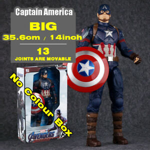 14in Big Marvel Captain America Action Figure Comic Avengers Heroes Collect Toy