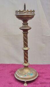 Ancien Pique-cierge/bronze Ou Cuivre/xixéme/ H.46 Cm/style Gothique/ A Nettoyer Dnxfmjeo-10044800-157117224