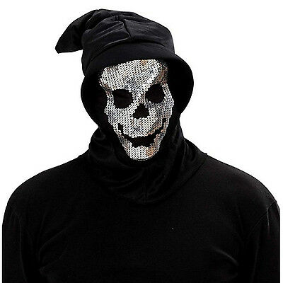 2019 Nuovo Stile Halloween Boia Tristo Mietitore Cranio Di Paillettes Argento Nero Cappuccio Horror Maschera-mostra Il Titolo Originale