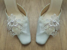 "White Cream Champagne Peacock Goose Feather + Lace Shoe Clips ""Zia"" Bridal -Pair"