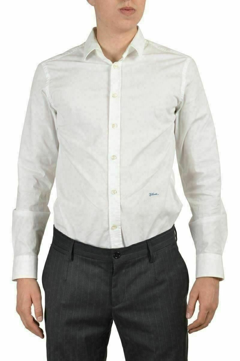 Just Cavalli Men's White Long Sleeves Casual Shirt Size US S IT 48