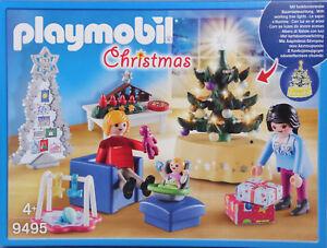 PLAYMOBIL-9495-Weihnachtliches-Wohnzimmer-funktionierende-Baumbeleuchtung-NEU