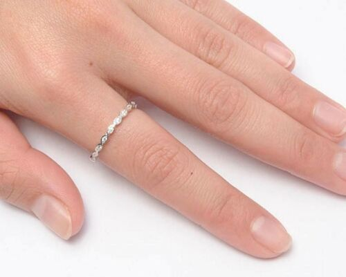 Eternity Ring solid sterling silver 925 Clair Zircone cubique Bijoux Bande Largeur 2 mm Taille 8