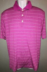 Adidas-ClimaLite-Pink-White-Striped-Golf-Polo-Shirt-Adult-Mens-Size-S-Small