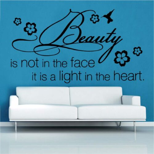 Beauty Is Not In The Face Decal Vinyl Wall Sticker Art Home Sayings Popular