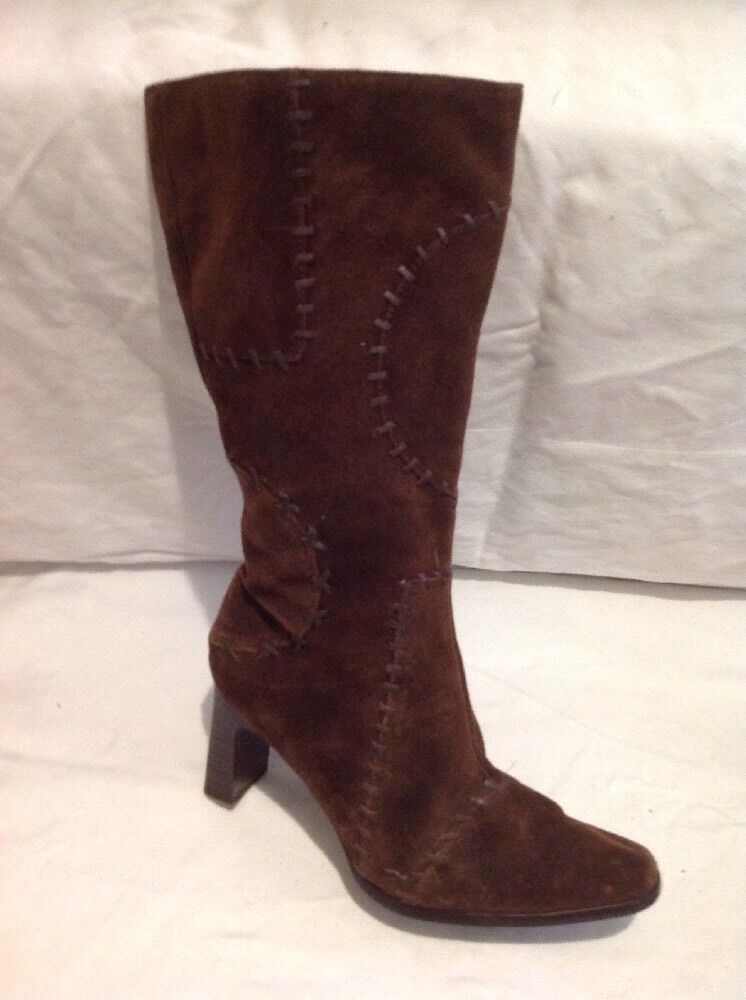 Fiore Collection Brown Mid Calf Suede Boots Size 7