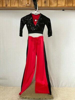 Red Black Sequin Youth Crop Top Pants Jazz Hip Hop Dance Costume Ebay