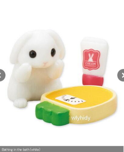 Epoch Capsule Toy  ^/_^ Bathing Rabbits Figure Set Complete 6pcs