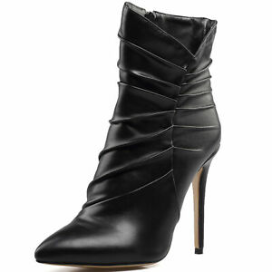 Fashion-Womens-Boots-Pointy-Toe-Stiletto-Heels-Ankle-Boots-Party-Shoes-Plus-Size