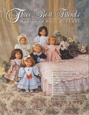"Three Best Friends Heriloom Doll Clothes 17'-19"" Clothes Pattern Martha Pullen"