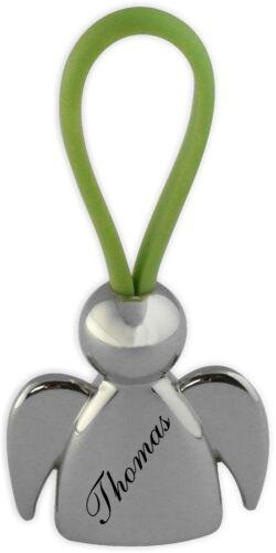 Ein sehr schöner Schlüsselanhänger Schutzengel Chrom mit Gravur Wunschname 02