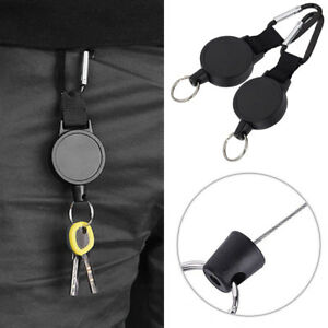 2pcs-Retractable-Key-Tool-Reel-Holder-Steel-Clip-Chain-Belt-Heavy-Duty-Split-NEW