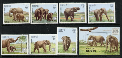 Laos 805-12 MNH Elephants, Bird, Vulture