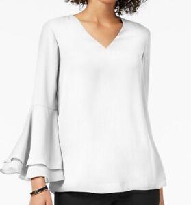 Alfani Women's Blouse White Iv Size 10 Ruffle Bell Sleeve V-Neck Solid $69- #351