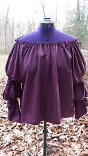 Womens Pirate Wench Gypsy Renaissance Blouse Chemise EGGPLANT Handmade