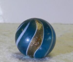 #12356m Vintage German Handmade Blue Glass Banded Lutz Marble .69 Inches